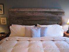 Reclaimed Barnwood Headboard:  I made one just like this using wood from Aurora Mills
