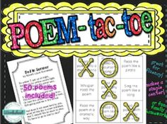 Poem-Tac-Toe…Fun way to practice fluency and develop a love of poetry! Grades 3-6 from More Than a Worksheet $