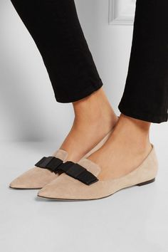 Jimmy Choo | Gala suede point-toe flats | NET-A-PORTER.COM