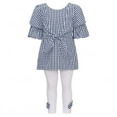 e5028efef8e Bonnie Jean Little Girls Navy Checkered Tie Accent 2 Pc Legging Outfit  2T-6X Bonnie
