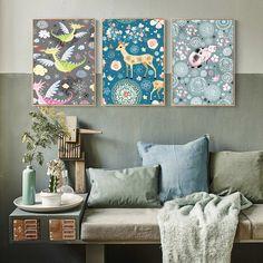 Cute Cartoon Dragon, Deer and Cat Canvas Print, Wall Art, Poster, Airbnb Home Decor. Sofa / Cafe / Office / Hotel Painting, Housewarming Gift. 3pcs. Unframed.