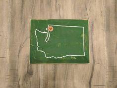 Washington State Outline With Heart Log Slice