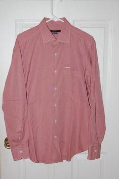 Mens Ungaro Dress Shirt LS 16 1/2 x 42  Red White Check Classic Cotton #Ungaro