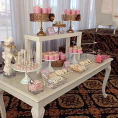 Blush gold and white -️sweet bar -bridal shower - Sweet Bar, Elegant Bridal Shower, Blush And Gold, Candy Buffet, Table Decorations, Candy Stations, Dinner Table Decorations, Candy Boxes, Candy Bars