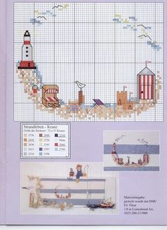 0 point de croix grille et couleurs de fils mer, mouette, phare et cabine de plage