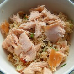 Zingy Couscous with Smoked Salmon - so easy to do in the office, or even outdoors if you take a flask of hot water! http://vohnsvittles.com/food/zingy-couscous #metrofoodies