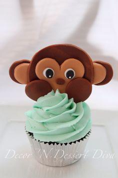 Decor 'N Dessert Diva Monkey cupcake cupcakes cake cakes torta boy birthday festas Safari jungle baby shower