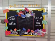 anti bully bulletin board | main bulletin board in the 7/8 grade hallway. October is Anti-Bullying ...