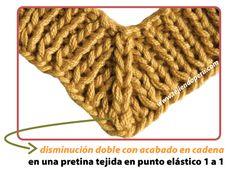 Disminuyendo puntos - Tejiendo Perú Knitting Help, Vogue Knitting, Knitting For Kids, Knitting Projects, Crochet Projects, Sweater Knitting Patterns, Knitting Stitches, Knit Patterns, Crochet Motif