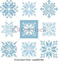 Cross Stitch Design Nine cross stitch snowflakes pattern, Scandinavian style - Cross Stitch Christmas Ornaments, Christmas Embroidery, Christmas Cross, Cross Stitching, Cross Stitch Embroidery, Embroidery Patterns, Hand Embroidery, Cross Stitch Designs, Cross Stitch Patterns