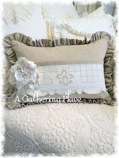 Rose Pin Vtg Lace Linen Pocket Pillow - Pillows - A Gathering Place