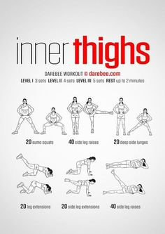 In thighs workout. Women& fitness tips In thighs workout. Women's fitness tips. Fitness Workouts, Easy Workouts, At Home Workouts, Fitness Tips, Leg Workout At Home, Fitness Foods, Easy Fitness, Fitness Quotes, Workouts For Teens