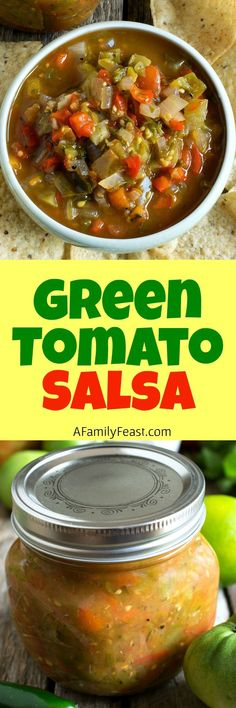 Peg's Green Tomato Salsa - A Family Feast® Green Tomato Salsa, Pickled Green Tomatoes, Tomato Salsa Recipe, Green Tomato Recipes, Tomato Relish, Garden Tomatoes, Growing Tomatoes, Entree Recipes, Mexican Food Recipes