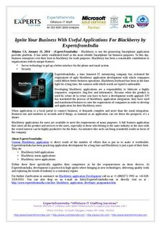 Ignite Your Business With Useful Applications For Blackberry by ExpertsfromIndia | ‪#‎BlackberryApplication‬