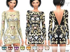 Embroidered fitted dress with open back and long sleeves. 10 different colors. Custom mesh by me.  Found in TSR Category 'Sims 4 Female Everyday'