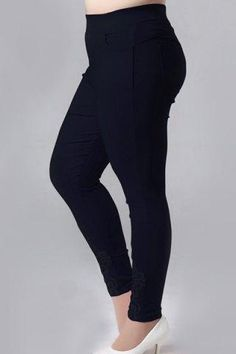 RoseGal.com - RoseGal High Waisted Lace Embellished Plus Size Pants For Women - AdoreWe.com
