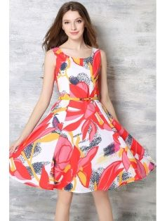 Vintage Floral Print Sleeveless O Neck Slim Lady A Line Swing Dress with Belt