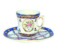 #Limoges Gilt Blue Pink #Porcelain #TeaCup & Saucer by #AbbyEssie on Etsy #gold #french #decor