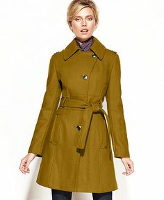 Kenneth Cole Coat, Wool-Blend Belted Asymmetrical Trench