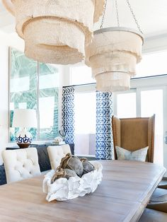 made goods coco bead chandeliers // natural curiosities art // schumacher panels // clamshell // You Won't Believe What This Beachy Boho Home Used to Look Like via @MyDomaine