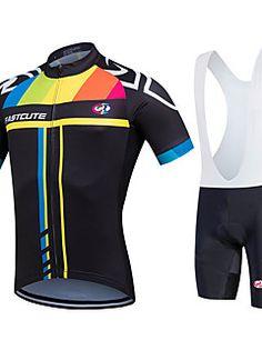 fastcute Cycling Jersey with Bib Shorts Women's Men's Unisex Short Sleeve Bike Bib Shorts Jersey Bib Tights Sweatshirt Clothing Suits