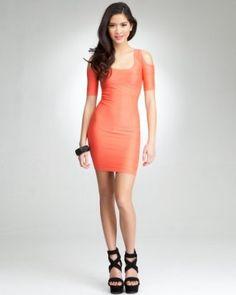 bebe Back Cutout Mini Shine Dress