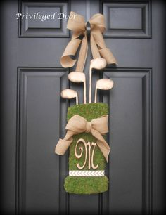 Spring Wreath.  Summer Wreath. Vintage Golf Bag Wreath.  Moss Golf Bag with Woodfired Clubs and Letter of Your Choice.  Old World Style. by PrivilegedDoor on Etsy https://www.etsy.com/listing/230852986/spring-wreath-summer-wreath-vintage-golf