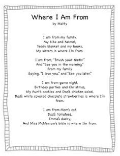 Where i 39 m from poetry students write amazing poems for Where i am from poem template