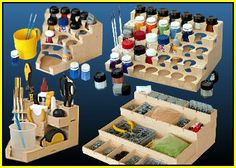 Miniatur-Malarbeitsplätze - Projects to Try - Painting Station, Hobby Desk, Hobby Shop, Game Pieces, Space Crafts, Tool Storage, Workshop, Work Stations, Interior Design Living Room