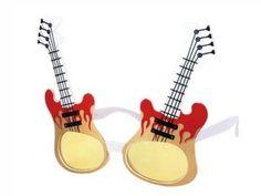 F-016 Fun Party Brille Form: Gitarre Farbe: weiß
