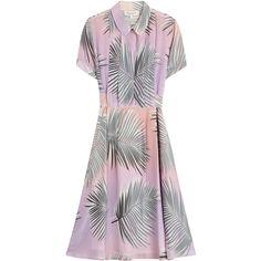 Paul & Joe Silk Palm Print Dress (16,450 THB) ❤ liked on Polyvore featuring dresses, multicolor, long shirt dress, short-sleeve dresses, pink dress, palm tree dress and full skirt shirt dress