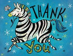 Thank You Zebra: greeting card design