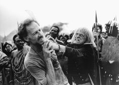 Werner Herzog & Klaus Kinski, longtime collaborators, best friends and enemies. Here Klaus is depicted during one of his infamous on-set terrifying rages, attacking the (somehow) ever patient Herzog.