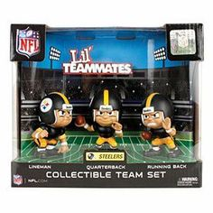Pittsburgh Steelers Lil Teammates NFL 3-Pack Collectible Team Set by Party Animal. $19.95. NFL 3 Pack Action Figures  Pack includes Quarterback, Running Back and Lineman. Save 26%!