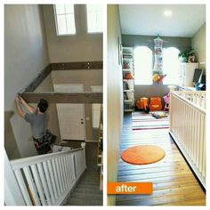 Turn unused space above stairway, into a kids play area