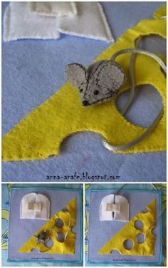 Mouse and cheese quiet book page by Pikssik