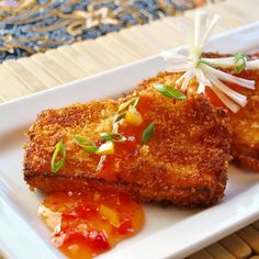 Panko crusted tofu w/ sweet chili sauce. My boyfriend LOVES this dish, and he absolutely hates tofu. I use Sriracha sauce instead of sweet chili sauce.