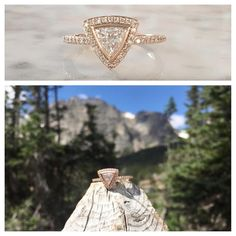 Congrats to Cody and Kylie on their recent engagement! Cody designed this one-of-a-kind rose gold triangle diamond ring with us here at #sarahojewelry #customjewelry #trianglediamond
