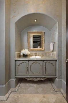 mediterranean powder room by Amitha Verma Interior Design, LLC