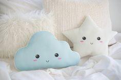 Cloud Pillow Happy Cloud Cushion Nursery Decor by DearVioletShop