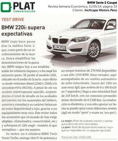 Inchcape Motors: Nuevo Serie 2 Coupé en la revista Semana Económica de Perú (11/05/14)