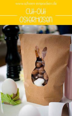Ein Ostergeschenk schön einpacken mit Kraftpapierbeuteln