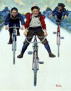 Poster advertising Goodrich Bicycle Tires, printed in Chicago, (colour litho), Rockwell, Norman / Private Collection / DaTo Images / Bridgeman Images Norman Rockwell Prints, Norman Rockwell Paintings, The Saturdays, Munier, Bicycle Art, Bicycle Design, Art Plastique, Caricatures, How To Run Longer