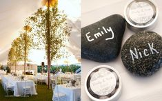 trees in tented wedding