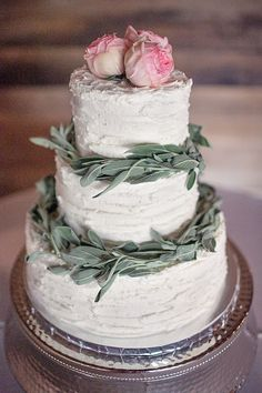 Elegant and rustic wedding cake. Maybe lavender leaves instead