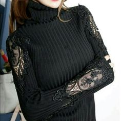 NWOT - Parisian runway fashion turtle neck sweater High end fashion - Turtle neck sweater with very intricate lace designs on each arms - black color - form fitting - size small/medium - NEW (never worn) Additional Sizes Available Sweaters Cowl & Turtlenecks