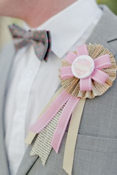 instead of a  boutonniere try this fun idea for the groom and his men  http://www.weddingchicks.com/2013/09/30/vintage-pink-and-white-wedding/