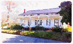 Watercolor rendering of Gregg-Hamilton House c. 1850