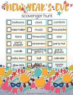 New Year's Eve Scavenger Hunt for Kids Looking for an activity to keep the kids busy during your New Year's Eve activities? Use this free printable New Year's Eve Scavenger Hunt for Kids! New Years With Kids, Kids New Years Eve, New Years Eve Party, New Years Eve Games, New Years Eve 2018, New Year's Eve Activities, Holiday Activities, Learning Activities, Teaching Ideas