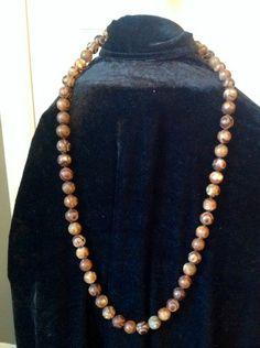 12mm Round Matte Green Spot Brown Mystical Agate Gemstone Necklace, Free Shipping, EvezBeadz.artfire.com, make A best offer